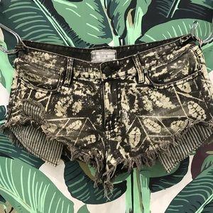 Free people black and white jungle print shorts